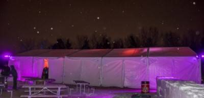 Exterior of 30'x75' Xspan tent at 2018 Silver Skate Festival