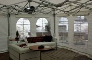 Event lounge in rental tent with White Manhattan furniture