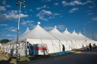 Event Tent Rental exterior pole tent at Rainmaker Rodeo and Exhibition, St. Albert.