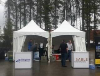 Event Tent Rental 10'x10' frame tents at Peace Region Petroleum Show, Grande Prairie