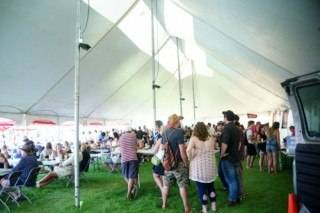 Event Tent Rental Interior of 40x100 pole tent at Seven Music Fest, St. Albert