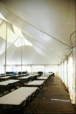 Interior of rental pole tent for Habitat for Humanity in Fort Saskatchewan, Alberta