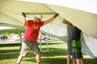 Installation of customer owned tents at the Heritage Festival in Edmonton, Alberta