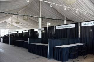 Draped exhibit booths at Spruce Meadows North American