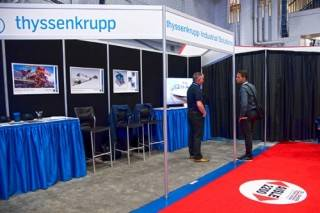 Exhibit booth with fabric panels at the Oil Sands Trade Show and Conference in Fort McMurray