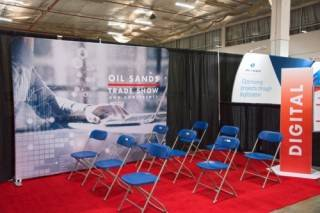 Portable fabric backwall display at the Oil Sands Trade Show and Conference