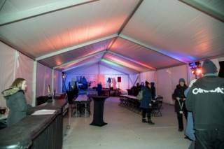 Interior of 30'x75' Xspan tent at the 2018 Silver Skate Festival