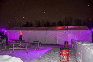 Clearspan event tent rental. Winter rated for outdoor festivals