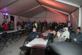 Interior of 30'x75' Xspan tent at 2018 Silver Skate Festival