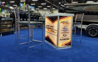 rear-lit charging station with custom graphics at the 2018 Edmonton Boat Show