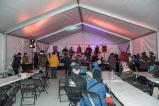 Interior of 30'x75' Xspan tent at Silver Skate Festival
