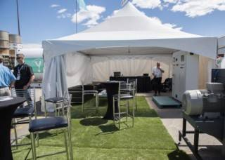 Event Tent Rentals with rental furniture and synthetic turf, Global Petroleum Show, Calgary