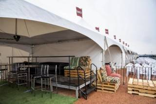 Event rentals outdoor festivals VIP village suite with rental furniture at BVJ, Camrose, AB