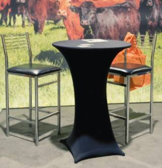 Event Rental decorated cruiser table in black spandex with chrome back stools