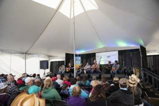 Festival tent rental for music event, Songwriters' Workshop at BVJ, Camrose,