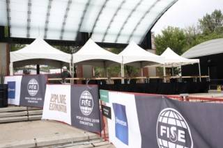 Sporting event beer garden tent rental at FISE World Cup, Edmonton