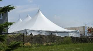 Pole tent rental at work-site of Habitat for Humanity, Fort Saskatchewan