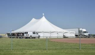 Pole tent rental at Future Farm, Olds