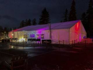 Clearspan event tent with custom light arch entrance, Jasper