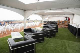 Synthetic turf for tent rental