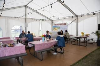 Plywood flooring for tent rentals