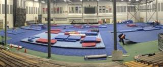 8000 sqft of rental carpet at 2019 Canada Winter Games gymnastics competition