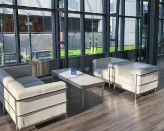 White leather soft seating at Calgary Telus Convention Centre