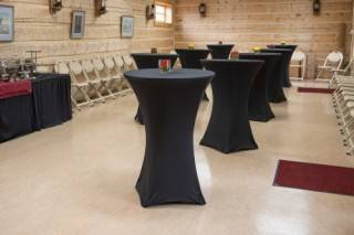 Covered cruiser tables for banquet networking