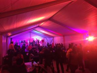 Interior of clearspan tent rental with selectable colour LED lighting
