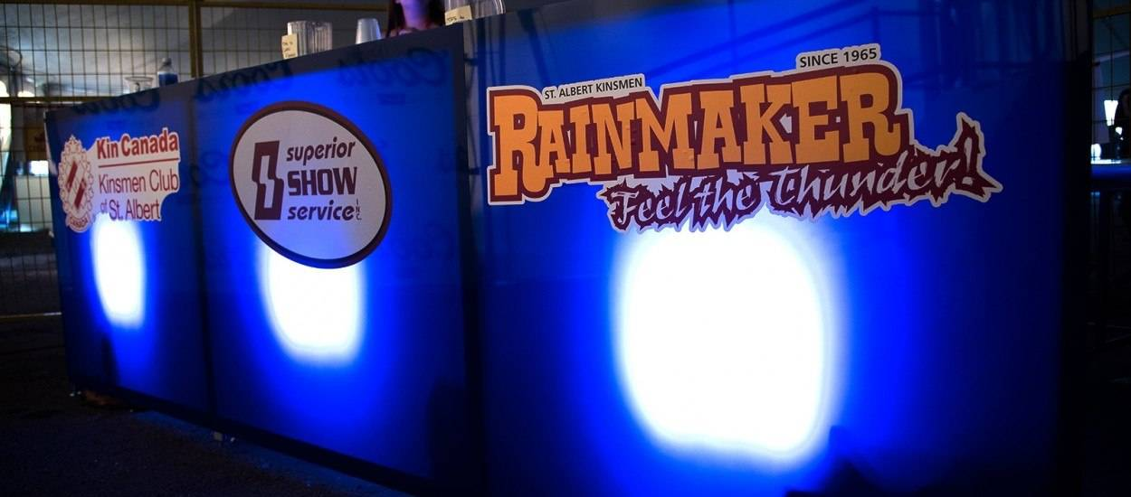 custom rear-lit counter with logos at St Albert Kinsmen Rainmaker Rodeo and Exhibition